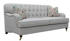 """Florence"" Hamptons Style Beige Chesterfield Linen Fabric Lounge Sofa 3 Seater"
