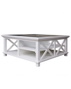 """Emily"" Hamptons Style Timber Square Glass Top Coffee Table White, 100cmL x 100cmD x 45cmH"