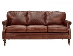 """Winston"" 3 Seater Genuine Leather with Brass Stud Lounge"