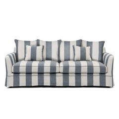 """Kaylin"" Fabric Lounge 3 Seater Denim and Cream Stripe Sofa"