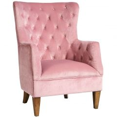 """Estate"" Velvet  Occasional Armchair in Pale Pink"