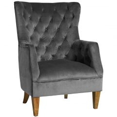 """Estate"" Velvet Occasional Armchair in Charcoal"