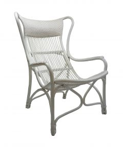 """Byron"" Alfresco Hamptons Style Rattan Cane Occasional Chair White, 66cmW x 94cmD x 102cmH"