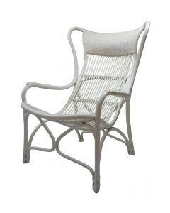"""Byron"" Alfresco Hamptons Style Rattan Cane Occasional Chair White, 66cmW x 94cmD x 102cmH"
