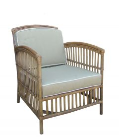 """Alfresco"" Armchair Rattan Lounge in Natural with Taupe Cushions White Piping, 82cmL x 68cmW x 86cmH"