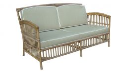 """Alfresco"" 2.5 Seater Rattan Cane Lounge Natural Taupe Cushions White Piping"