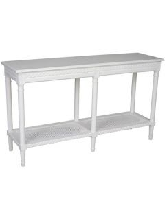 """""""Paloma"""" Hamptons Style Long Console Hall Table with Rattan Shelf in White, 140cm x 40cm x 80cmH"""