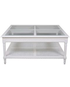 """""""Paloma"""" Hamptons Style Square Coffee Table with 4 Panel Glass Top & Rattan Shelf in White, 110cm x 110cm x 50cmH (RRP $1499)"""
