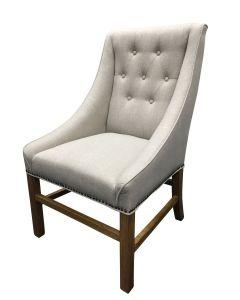 """Hudson"" Hampton Style Linen Fabric Upholstered Dining Chair Wings Studs Beige, 59cm x 60cm x 100cmH"