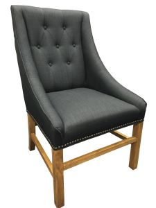 """Hudson"" Hampton Style Linen Fabric Upholstered Dining Chair Wings Studs Black, 59cm x 60cm x 100cmH"