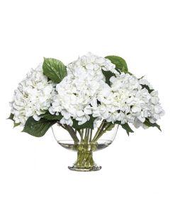 Hydrangea Hamptons Style Flower in Glass Bowl Vase 54cm White