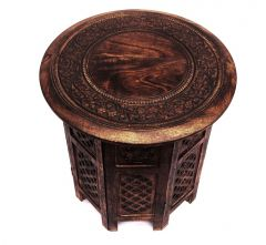 Hand Carved Timber Octagonal Side Table Brown 45cm