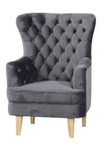 """FLOORSTOCK CLEARANCE SALE """"Elsa"""" Slate Velvet Occasional Accent Armchair with Blonde Timber Legs"""