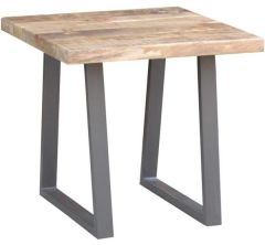 """Gordon"" Industrial Style Live Edge Natural Lamp Table, 60x60xH56cm"