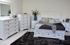 """""""Emily"""" Hamptons Style Timber Queen Bedroom Package White, with Queen Bed, 6 Drawer Tallboy and 2 x 3 Drawer Bedside Tables"""