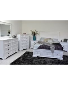 """""""Emily"""" Hamptons Style Timber Queen Bedroom Package White, with Queen Bed, Dresser and 2 Bedside Tables"""