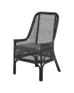 """""""Southbeach"""" Hamptons Style Rattan Cane Armchair Dining Chair in Black"""