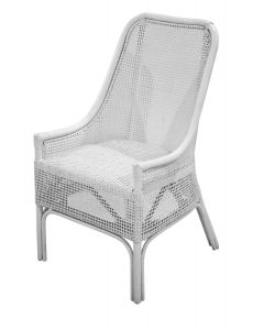 """Albany"" Hamptons Style Rattan Cane Armchair Dining Chair in White"