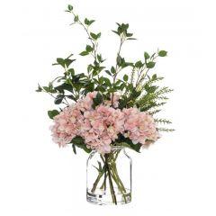 Hydrangea Mix Glass Jar 73cm Pink Hampton Style Decoration
