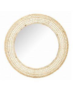 Astila Hamptons Style Natural Rattan Round Mirror 100cm