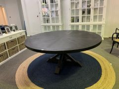 """Atticus"" Solid Timber Parquetry Round Dining Table with Pedestal Base in Black, 180cm"