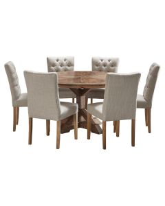 """""""Atticus"""" 7 Piece Dining Package 150cm Round Hardwood Timber Dining Table with 6 Chloe Chairs"""