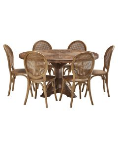 """""""Atticus"""" 7 Piece Dining Package 150cm Round Hardwood Timber Dining Table with 6 Seychelles Chairs"""