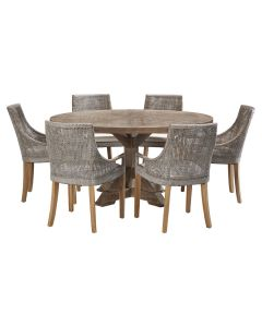 """""""Atticus"""" 7 Piece Dining Package 150cm Round Hardwood Timber Dining Table with 6 Avoca Chairs"""