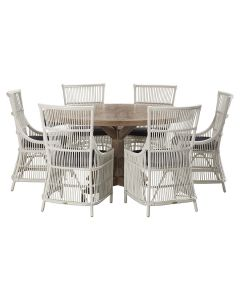 """""""Atticus"""" 7 Piece Dining Package 150cm Round Hardwood Timber Dining Table with 6 Byron Chairs"""