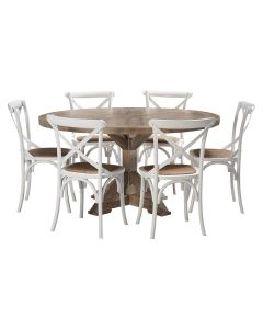 """""""Atticus"""" 7 Piece Dining Package 150cm Round Hardwood Timber Dining Table with 6 Noosaville Chairs"""