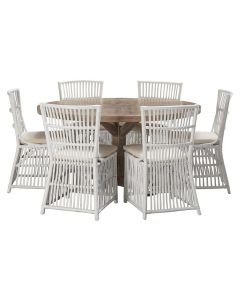 """""""Atticus"""" 7 Piece Dining Package 150cm Round Hardwood Timber Dining Table with 6 Villa Chairs"""