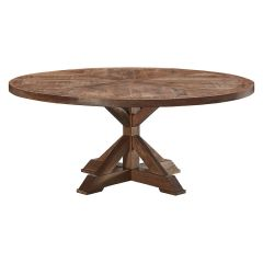 """""""Atticus"""" Solid Timber Parquetry Round Dining Table with Pedestal Base in American Oak, 180cm"""