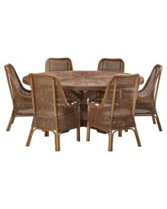 """""""Atticus"""" 7 Piece Dining Package 180cm Round Hardwood Timber Dining Table with 6 Southbeach Chairs"""