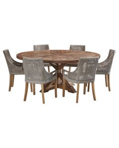 """""""Atticus"""" 7 Piece Dining Package 180cm Round Hardwood Timber Dining Table with 6 Avoca Chairs"""