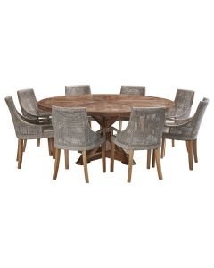 """""""Atticus"""" 9 Piece Dining Package 180cm Round Hardwood Timber Dining Table with 8 Avoca Chairs"""