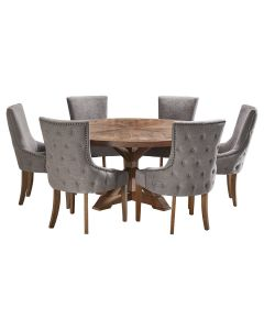 """""""Atticus"""" 7 Piece Dining Package 180cm Round Hardwood Timber Dining Table with 6 Lauren Chairs"""