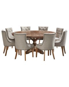 """""""Atticus"""" 9 Piece Dining Package 180cm Round Hardwood Timber Dining Table with 8 Madison Chairs"""