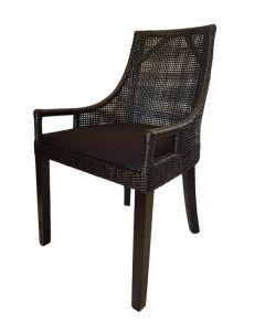 """Avoca"" Hampton Style Rattan Dining Chair Black with Black Legs"