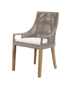 """Avoca"" Hampton Style Rattan Dining Chair Mocha with Teak Legs, 52cm x 47cm x 88cmH"