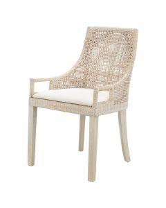 """Avoca"" Hamptons Style Rattan Whitewash Dining Chair, 52cm x 47cm x 88cmH"