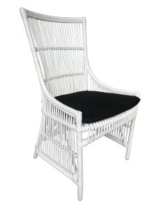 """Byron"" Hamptons Style Rattan Cane Dining Side Chair White with Black Cushion, 54cm x 45cm x 95cmH"