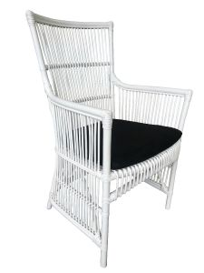 """Byron"" Hamptons Style Rattan Cane Armchair Dining Chair White with Black Cushion, 56cmL x 63cmD x 95cmH"