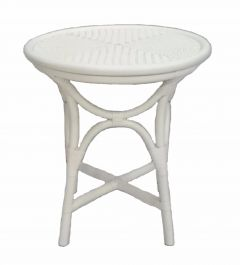 """Byron"" Round Rattan Cane Side Table Balagi Antique White, 50cmD x 55cmH"