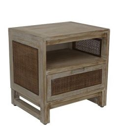 """Barbados"" British Colonial Style Timber Bedside Table Greywash 50 x 40 x 52cm"