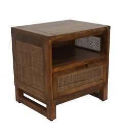 """Barbados"" British Colonial Style Timber Bedside Table Rustic 50 x 40 x 52"