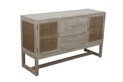"""Barbados"" British Colonial Timber Buffet in Greywash finish 145 x 45 x 86cm"