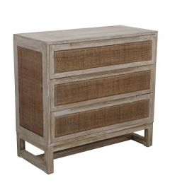 """Barbados"" British Colonial Style 3 Drawer Timber Tallboy Greywash finish 90 x 40 x 85cm"
