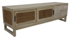 """Barbados"" British Colonial Style Timber TV Unit Greywash 160 x 45 x 60cm"