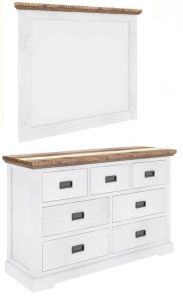 """""""Bayview"""" Solid Timber Coastal Style Two Tone with Brushed White Dresser with Mirror"""