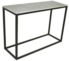 """""""Beacon"""" Hall Table Console 110cm x 40cm in Marble with Black Legs"""